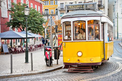 Lisbon Street and Tram Stock Images