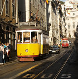 Lisbon Streetcars. Lisbon, Portugal October 6, 2008 Streetcars are a long standing means of transportation in the city of Lisbon. They contribute to the charm of stock image