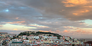 Lisbon at sunset with copyspace, Portugal Royalty Free Stock Images