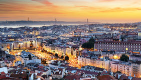 Lisbon at sunset. In Portugal royalty free stock image
