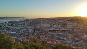 Lisbon sunset portugal city urban castle royalty free stock image