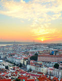 Lisbon sunset skyline, Portugal Royalty Free Stock Photography