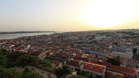 Lisbon sunset timelapse. Beautiful Full HD timelapse of a sunset over Lisbon, Portugal,  seen from the castle stock footage