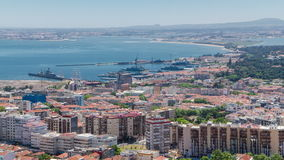 Lisbon on the Tagus river bank, central Portugal stock footage