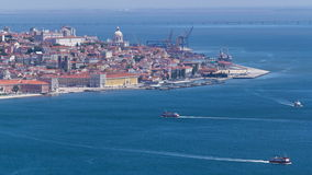 Lisbon on the Tagus river bank, central Portugal stock video