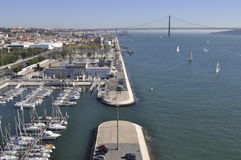 Lisbon tagus river panorama view with 25th april bridge in the back Royalty Free Stock Photo
