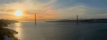 Lisbon tejo sunset in the river Royalty Free Stock Images