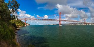 Lisbon and 25th of April Bridge - Portugal. Architecture background Royalty Free Stock Images