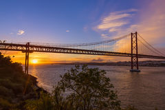 Lisbon and 25th of April Bridge - Portugal. Architecture background Royalty Free Stock Photography
