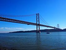 Lisbon 25th april bridge on a sunny day royalty free stock photos