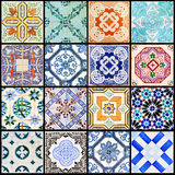 Lisbon tiles collage black stock image