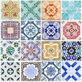Lisbon tiles collage white Stock Photos