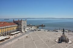 Lisbon. Top view on Praca Comercio (Commerce square) in Lisbon, Portgal stock image