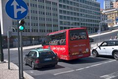 Lisbon tourist bus. A sightseeing bus in the streets of Lisbon - Portugal Stock Photography