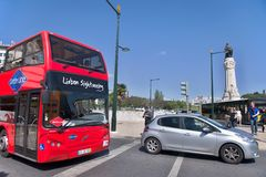 Lisbon tourist bus. A sightseeing bus in the streets of Lisbon - Portugal Stock Images