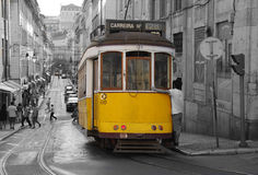 Lisbon tram. The traditional yellow tram in Lisbon (Portugal Royalty Free Stock Photo
