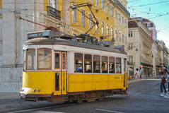 Lisbon tram. The traditional yellow tram in Lisbon (Portugal Stock Photography