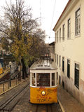 Lisbon tram. Old Lisbon yellow tram on the street Stock Photography