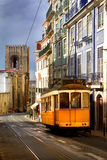 Lisbon Tram. View of an old Lisbon street with the traditional yellow tram Stock Photo