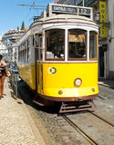 Lisbon tram in Alfama district, Lisbon. Royalty Free Stock Images
