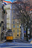 Lisbon tram. In Alfama district, Portugal Stock Photos