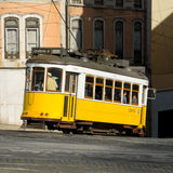 Lisbon tram in Bairro Alto district, Lisbon. royalty free stock photo