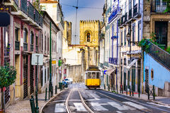 Lisbon Tram and Cityscape. Lisbon, Porgugal cityscape and tram near Lisbon Cathedral stock photos