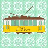 Lisbon tram. Colorful illustration of traditional Lisbon tram in vector Stock Photo
