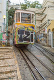 Lisbon Tram. Exposure of a Typical Tram in the Streets of Lisbon, Portugal Royalty Free Stock Photo