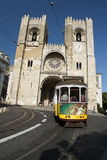 Lisbon tram in front of Sé Cathedral Royalty Free Stock Image