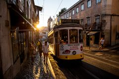 Lisbon Tram, Portugal. Tram in Lisbon, the capital city of Portugal, taken as the sun sets Royalty Free Stock Image