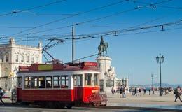 Lisbon tram in Praca do Comercio district, Lisbon. stock photo