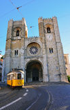 Lisbon tram at Se cathedral Stock Photos
