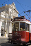 Lisbon Tram. Typical Lisbon tram in the Praça do Comércio Royalty Free Stock Photos