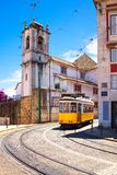 Lisbon tram on urban tramway network. Alfama district route. Por. Lisbon tram on urban tramway network. Alfama district Miradouro Santa Luzia route. Portugal Royalty Free Stock Photos
