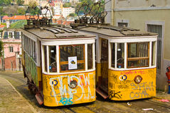 Lisbon Trams. Vandalized trams stopped in a hill, Lisbon, Portugal Stock Image