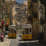 Lisbon trams crossing Royalty Free Stock Photos