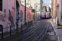 Lisbon tramwaju samochód Portugalia Zdjęcie Royalty Free