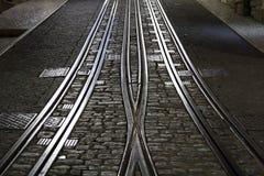 Lisbon tramway tracks. In the street - night Royalty Free Stock Photo