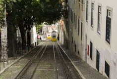 Lisbon tramway. Typical yellow tramway in Lisbon, Portugal Royalty Free Stock Photos