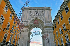 Lisbon triumphal arch Royalty Free Stock Image