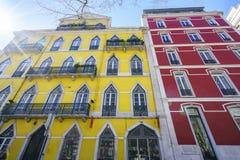 Lisbon typiska byggnader Arkivbilder