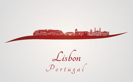 Lisbon V2 skyline in red Royalty Free Stock Photos