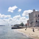 Lisbon vibes. Sunny day in Lisbon downtown by the Tagus River Royalty Free Stock Photo
