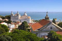 Lisbon View. Panorama of a old traditional neighborhood in Lisbon Royalty Free Stock Images