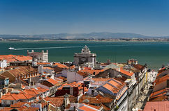 Lisbon view. The Tagus river and the Triumph Arch of Augusta street viewed from the Santa Justa elevator in Lisbon Stock Photo