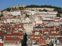 Lisbon view. A spetacular view o São Jorge castle and Alfama, an old neighbourhood of Lisbon, Portugal Stock Photography