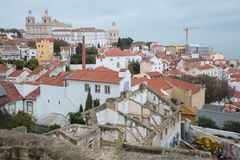 LISBON view Alfama and church São Vicente royalty free stock images
