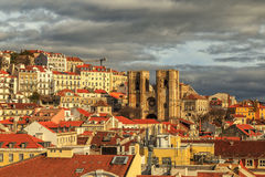 Lisbon view with the cathedral Sé de Lisboa. Royalty Free Stock Images