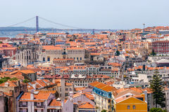 Lisbon from the viewpoint of Graca. Panoramic view from the viewpoint of the Graça district in Lisbon, Portugal Stock Image